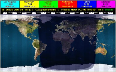 EarthSunX has a day/night map of the Earth and the time in user-selected cities.